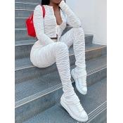 Lovely Trendy Fold Design White Two Piece Pants Se