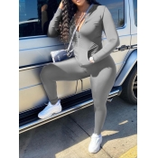 Lovely Casual Turndown Collar Zipper Design Grey Two Piece Pants Set