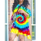 Lovely Trendy Tie Dye Asymmetrical Multicolor Two Piece Shorts Set