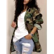 lovely Trendy Camo Print Plus Size Coat