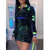 lovely Trendy Turndown Collar Sequined Green Mini Dress