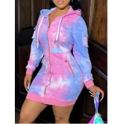Lovely Trendy Hooded Collar Tie-dye Purple Mini Dress