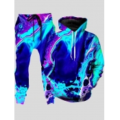 lovely Trendy Hooded Collar Tie-dye Multicolor Men Two-piece Pants Set