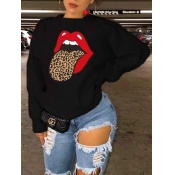Lovely Leisure O Neck Lip Print Black Hoodie