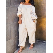 lovely Leisure Loose White Plus Size One-piece Jumpsuit