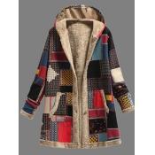 lovely Trendy Hooded Collar Print Red Long Coat