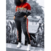 Lovely Sportswear Hooded Collar Print Patchwork Red Two Piece Pants Set