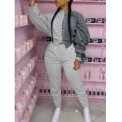 lovely Sportswear Bandage Design Patchwork Grey Two Piece Pants Set