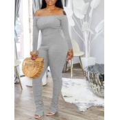 lovely Sexy Dew Shoulder Fold Design Grey One-piece Jumpsuit