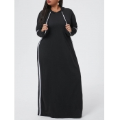 Lovely Casual Hooded Collar Patchwork Black Maxi P
