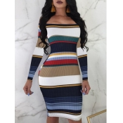 lovely Stylish Dew Shoulder Striped Blue Knee Length Dress