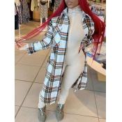 lovely Trendy Turndown Collar Grid Print White Long Wool