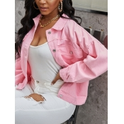 Lovely Casual Turndown Collar Buttons Design Pink