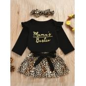 lovely Trendy O Neck Letter Print Black Girl Two-piece Skirt Set
