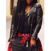 lovely Trendy Turndown Collar Zipper Design Black