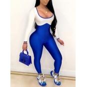 lovely Sportswear U Neck Patchwork Blue One-piece Jumpsuit