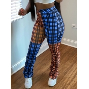 Lovely Casual Grid Print Patchwork Orange Pants