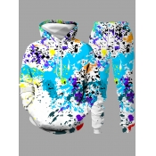 lovely Casual Hooded Collar Print Multicolor Men Two-piece Pants Set