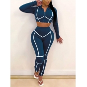 lovely Sportswear Hooded Collar Patchwork Deep Blue Two Piece Pants Set