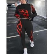 lovely Stylish O Neck Print Skinny Black Two Piece Pants Set
