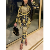 lovely Trendy Versace Print Skinny Yellow One-piece Jumpsuit