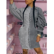 lovely Casual Patchwork Bandage Design Grey Knee Length Dress