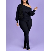 Lovely Leisure Basic Skinny Black Plus Size One-piece Jumpsuit