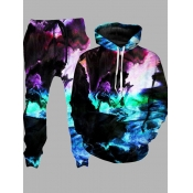 lovely Street Hooded Collar Tie-dye Multicolor Men Two-piece Pants Set