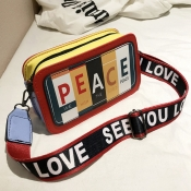 lovely Stylish Letter Print Red Crossbody Bag