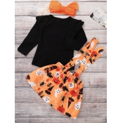 Lovely Casual O Neck Cartoon Print Black Girl Two-piece Pants Set