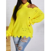 lovely Trendy Half A Turtleneck Hollow-out Yellow