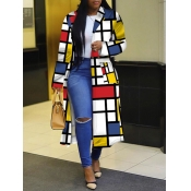 Lovely Stylish Turndown Collar Grid Print Multicolor Long Coat