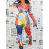 lovely Stylish Turndown Collar Print Patchwork Multicolor One-piece Jumpsuit