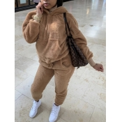 lovely Casual Hooded Collar Basic Caramel Color Two Piece Pants Set