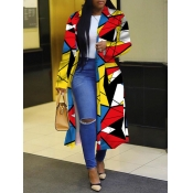 lovely Trendy Turndown Collar Print Multicolor Lon