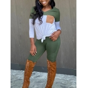 lovely Casual V Neck Patchwork Green Two Piece Pants Set
