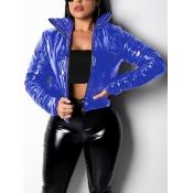 Lovely Stylish Turndown Collar Zipper Design Blue Short Parka