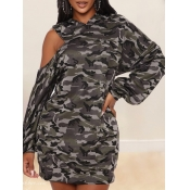 lovely Casual Hooded Collar Camo Print Hollow-out