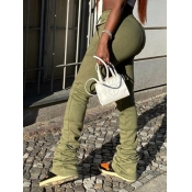 Lovely Street Fold Design Drawstring Army Green Pants