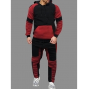 Lovely Sportswear Hooded Collar Patchwork Red Men Two-piece Pants Set