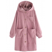 lovely Casual Hooded Collar Buttons Design Pink Lo