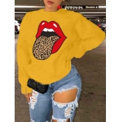 Lovely Leisure O Neck Lip Print Yellow Hoodie