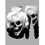 Lovely Street Hooded Collar Skull Print Black Men Two-piece Pants Set
