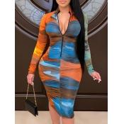 Lovely Trendy Tie-dye Zipper Design Blue Knee Length Dress