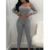 Lovely Sexy Dew Shoulder Striped Light Grey Two Piece Pants Set