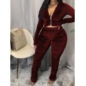 Lovely Trendy Fold Zipper Design Wine Red Plus Siz