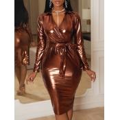 Lovely Trendy V Neck Lace-up Gold Knee Length Dres