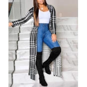lovely Casual Print Black Long Coat