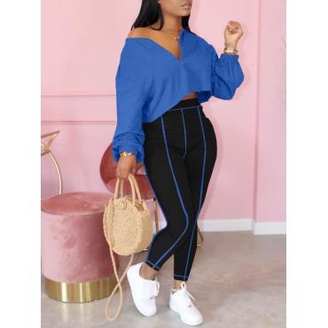 LW Leisure Zipper Design Loose Blue Two Piece Pants Set
