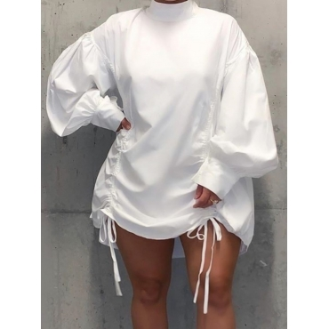 LW Plus Size Casual Half A Turtleneck Fold Design White Mini Dress